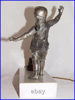 01d17 Ancienne Lampe Veilleuse Art Déco 1930 1940 Statue Régule Enfant Ecolier