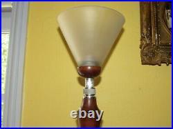 07f28 Ancienne Lampe De Bureau Art Déco Pied Chrome Réglable Acajou Style Mazda