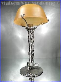 1910-20 Ch. Schneider Et P. Escaffre Lampe Fer Forgé Et Pte De Verre Art Déco