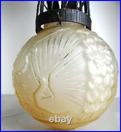 1920/1930 Muller Fres Luneville Lampe Plafonnier Lustre Art Deco Pate De Verre