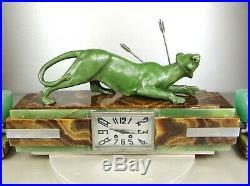 1920/1930 P. Hugonnet Pendule Garniture 2 Lampes Statue Art Deco Bronze Panthere
