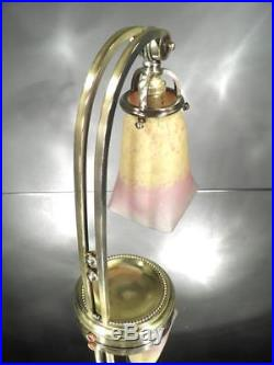 1920-30 Ch. Schneider Lampe D'appoint En Bronze Et Pte De Verre Art Déco