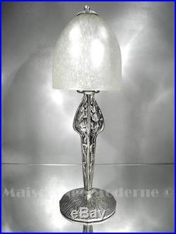 1920-30 Ch. Schneider Lampe Ginkgo Biloba Fer Forgé Et Pte De Verre Art Déco