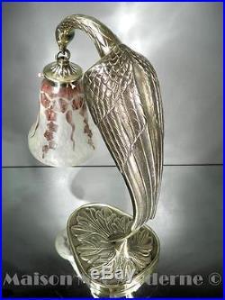 1920-30 Le Verre Français Lampe En Bronze Patiné Et Pte De Verre Gravé Art Déco