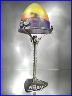 1920-30 Muller Frères Et H. Fournier Lampe Fer Forgé Et Pte De Verre Art Déco