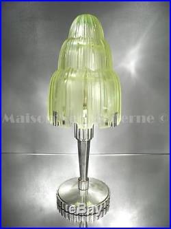 1920-30 Sabino Et Genet & Michon Rare Lampe Bronze Verre Pressé-moulé Art Déco