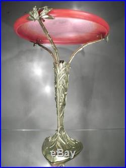 1920-30 Schneider Rare Lampe Oliviers Et Cigales Bronze Pte De Verre Art Déco