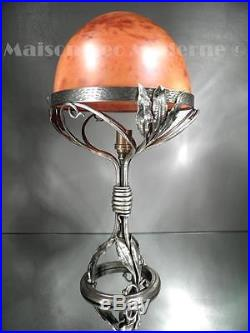 1925 Daum Nancy Grande Lampe En Fer Forgé Et Pte De Verre Art Déco