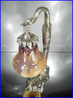 1925 Le Verre Français Et C. Ranc Lampe Bronze Et Pte De Verre Gravé Art Déco