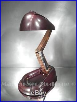 1930-40 Jumo Lampe Rétractable Lucidus Bloc Métal Et Bakélite Brune Art Déco