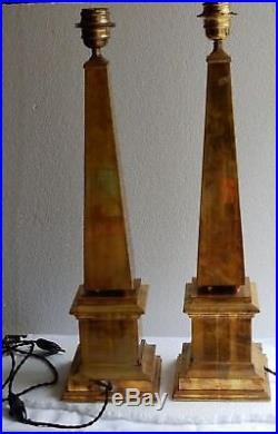 1970' Paire de Lampes Obelisques en Laiton