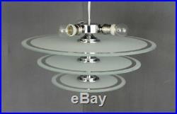 -20% Moderniste Chandelier Lustre Lampe Chrome Lacroix Petitot Bauhaus Art Déco