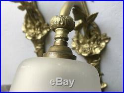 2 Appliques Art Deco Lampe 1930 Tulipe Signe Muller Degue Maynadier Lustre Daum