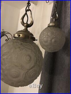 2 Lustres Art Deco Lampe 1930 Sabino Tulipe Daum Vasque Muller Degue French