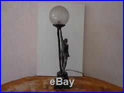 ANCIENNE LAMPE ART DÉCO RÉGULE SCULPTURE FEMME DANSEUSE 1920-1930 Le Verrier