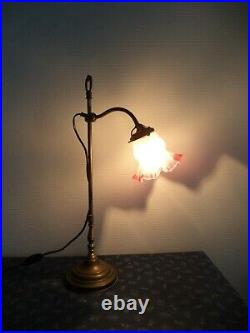 ANCIENNE LAMPE ART DECO à poser orientable coulissante TULIPE bord rose
