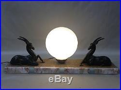 ANCIENNE LAMPE ART DÉCO antilopes boule opaline luminaire éclairage