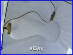 ANCIENNE LAMPE CHAMPIGNON TOUTE EN VERRE blanc