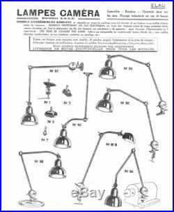 ANCIENNE LAMPE INDUSTRIELLE NICKELÉE époque 1950 ELAUL breveté s. G. D. G LOFT