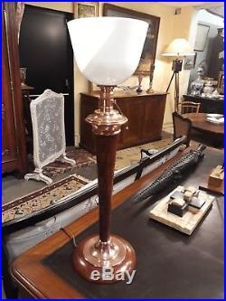 ANCIENNE LAMPE MAZDA de bureau art déco opaline Albalite