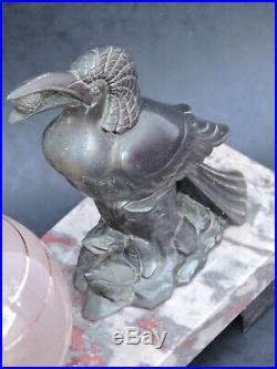 ANCIENNE LAMPE chevet VEILLEUSE ART DÉCO 1930 STATUE RÉGULE OISEAUX