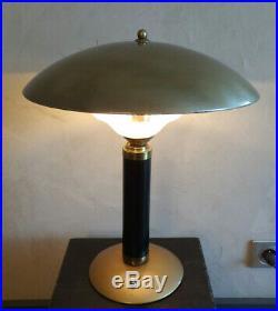 ANCIEN LAMPE TABLE ART DéCO JUMO BAKéLITE MéTAL OPALINE