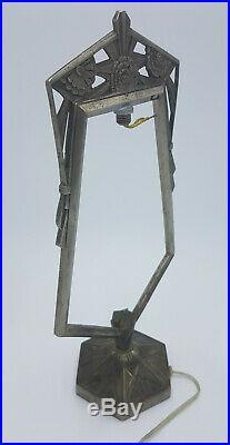 ANCIEN PIED DE LAMPE VEILLEUSE ART DECO BRONZE NICKELE pour MULLER GALLE DAUM