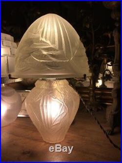 ART DECO LAMPE MODELE IRIS de ANDRÉ HUNEBELLE & Cogneville RARE