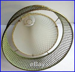 Abat-jour Art Déco, suspension lustre lampe, cone en tôle perforée, MATEGOT