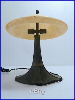 Albert CHEURET Lampe Art Deco Bonze patine verte Albâtre XX ème 20th signé
