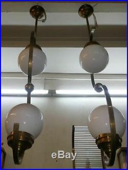 Ancien Art Deco Bauhaus Fixture Plafond Laiton Lustre Lait Lumiere Verre Lampe