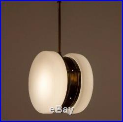 Ancien Art Deco Laiton & Milk Glass Eclairage Lustre au plafond Lampe