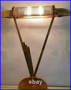 Ancien Art Deco Skyscraper Laiton Glass Rod Eclairage Lampe De Table Lampadaire