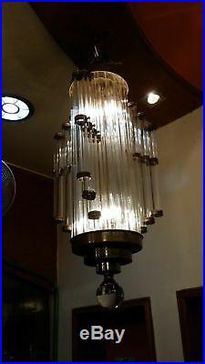 Ancien Art Deco Skyscraper Laiton & Glass Rod Eclairage Lustre au plafond Lampe