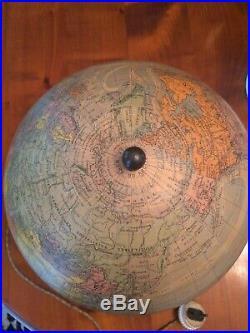 Ancien Globe Terrestre Art Deco Verre Mappemonde Lampe Vintage Lumineux Perrina