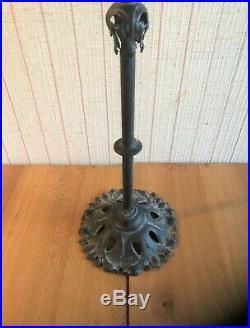 Ancien Grand Pied de Lampe Art Déco Fer Forgé 77 cm Luminaire Globe Tulipe