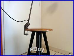 Ancien Lampe Atelier Industriel Abat-Jour Email Pince Etau Rotule Gras Jieldé