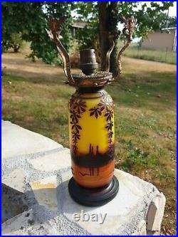 Ancien Lampe, Pate De Verre, J Michel Paris, Galle, 1930, Art Deco, Degage A L' Acide
