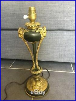 Ancien Lampe TRIPODE TETE BELIER EMPIRE BRONZE Art Deco Neo Gothique Satires