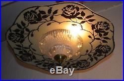 Ancien Lustre Lampe Lumiere Cristal Cisele Et Verre Art Deco Shabby Annee 50