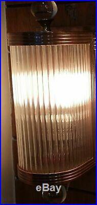 Ancien Old Art Deco Cuivre & Glass Rod Lumiere Appliques murale Lampe
