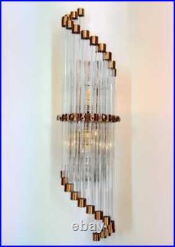 Ancien Old Art Deco Skyscraper Cuivre & Glass Rod Lumiere Appliques murale Lampe