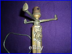 Ancien Pied De Lampe Art Deco Bronze Muller Degue Tulipe Obus Hettier Vincent