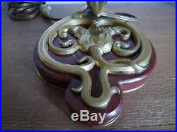 Ancien Pied De Lampe Bronze Marbre Dragon Epoque Art Deco 1920/30