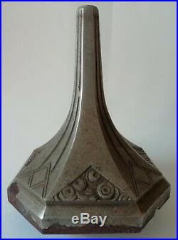 Ancien Pied de Lampe Art Déco en fer métal nickelé à restaurer en état Grenier