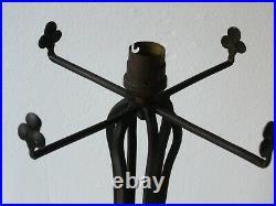 Ancien Pied de lampe art déco fer forgé Muller Daum
