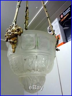 Ancien lampe Lustre Suspension Bronze Art Déco Globe Obus Muller Degué
