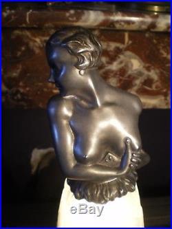 Ancien lampe art deco sculpture femme nue antique statue lamp nude woman figural