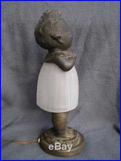 Ancien lampe veilleuse art deco SOLAZZINNI sculpture enfant antique lamp figural
