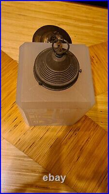 Ancien lustre lampe art deco verre dépoli lamp decors géométrique mullers degué